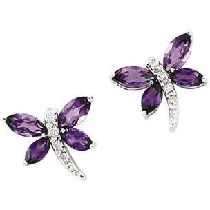 Amethyst and Diamond Dragon Fly Earrings