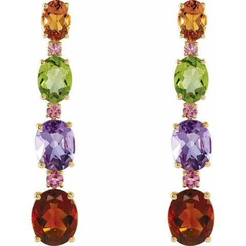Luxurious Gemstone Gold Earrings