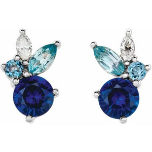 Sapphire and Diamond Oceanic Earrings