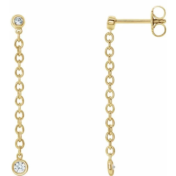 Diamonds & Gold Chain Earrings