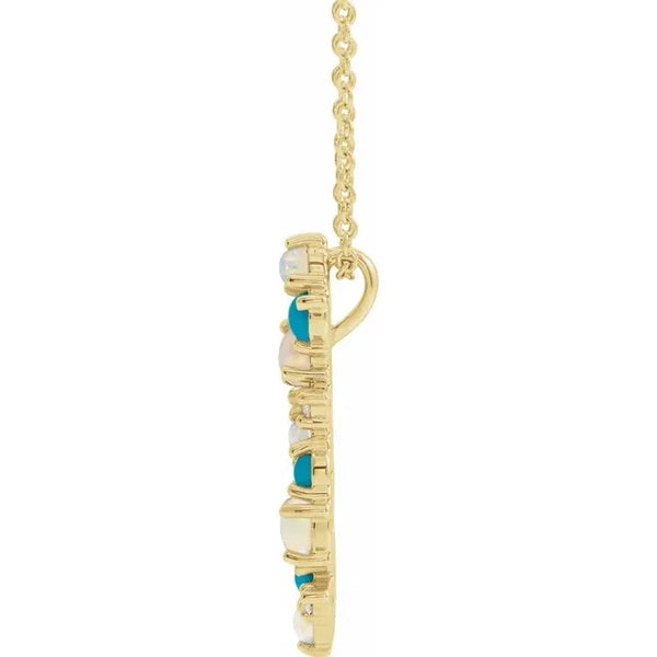 Scattered Turquoise, Opal & Diamond Bar Necklace