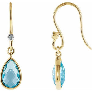Swiss Blue Topaz & Diamond Earrings