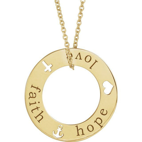 Faith, Hope and Love Circle Necklace