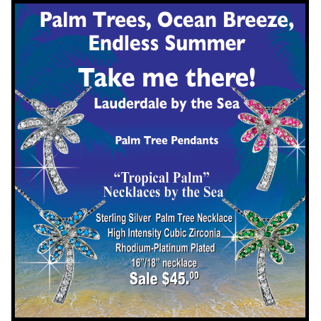 Florida Pink Palm Tree Necklace - Argenti Designer Jewelers