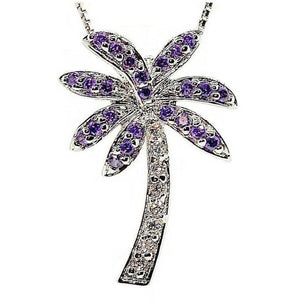 Florida Purple Palm Tree Necklace