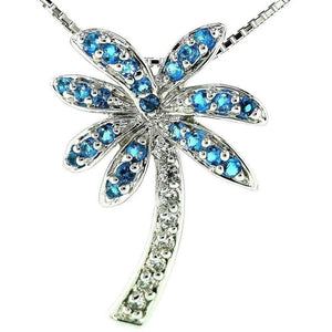Florida Caribbean Blue Palm Tree Necklace