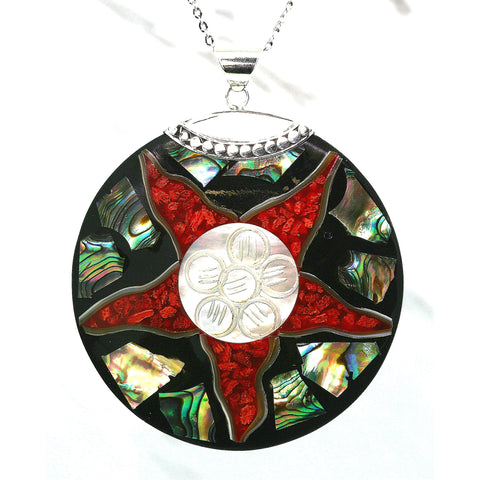Red Star Natural Shell Mosaic Necklace & Earrings Set