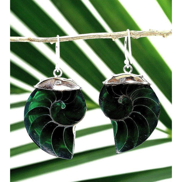 Green Natural Nautilus Pearl Shell Earrings