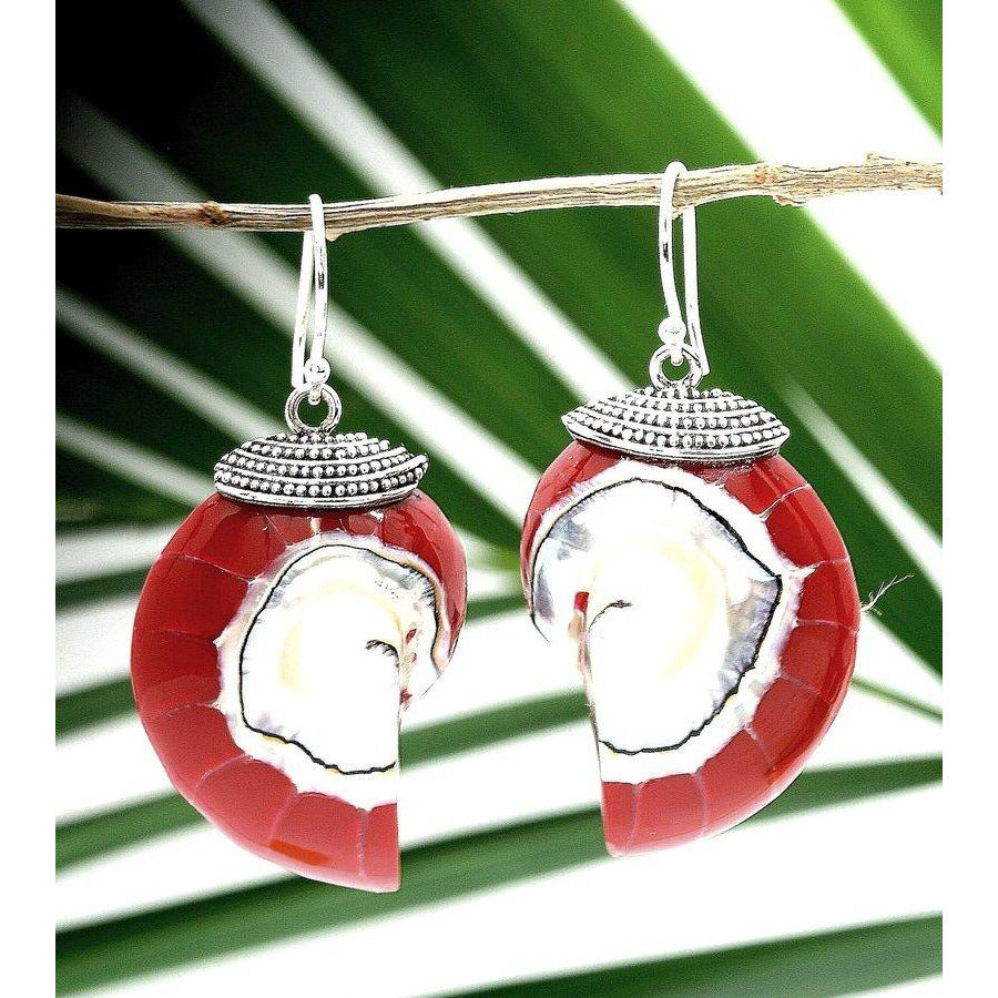 Red Natural Nautilus Pearl Shell Earrings