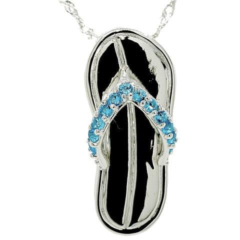 Caribbean Blue Flip Flop By The Sea Necklace
