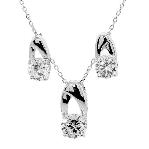 Nouveau Solitaire Necklace & Earrings Set