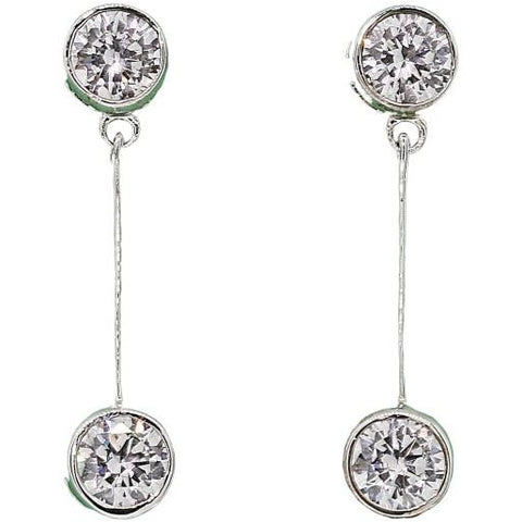 Double Dangle Bezel Earrings
