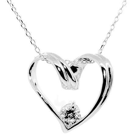 Solitaire Swirl Heart Necklace