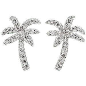 Florida White Stationary Palm Tree Earrings