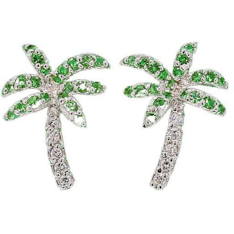 Florida Green Stationary Palm Tree Earrings