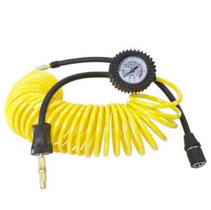 Air Hose, 24' Coil With Pressure Gauge, EZ Twist inflator end & Quick connect