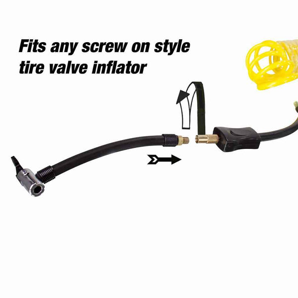 air compressor hose connecting to screw on valve tire inflator