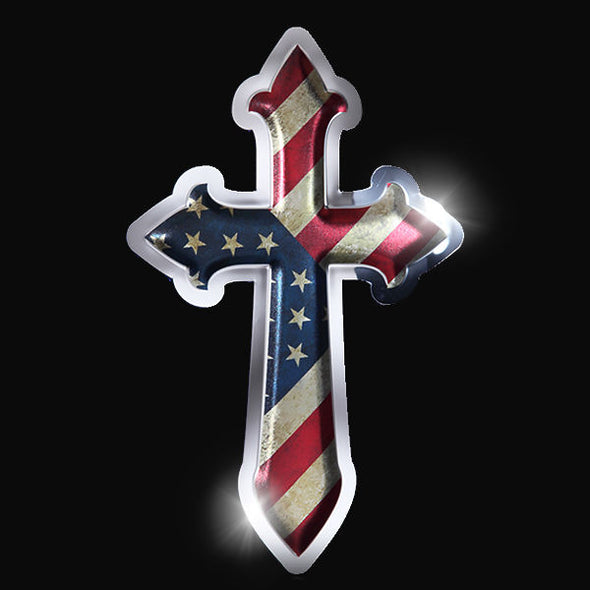 Christian Cross - American Flag