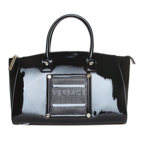 Versace Black Patent Doctor Handbag Sale