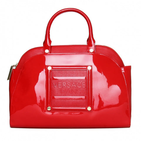 Versace Red Patent Bowler Bag Sale