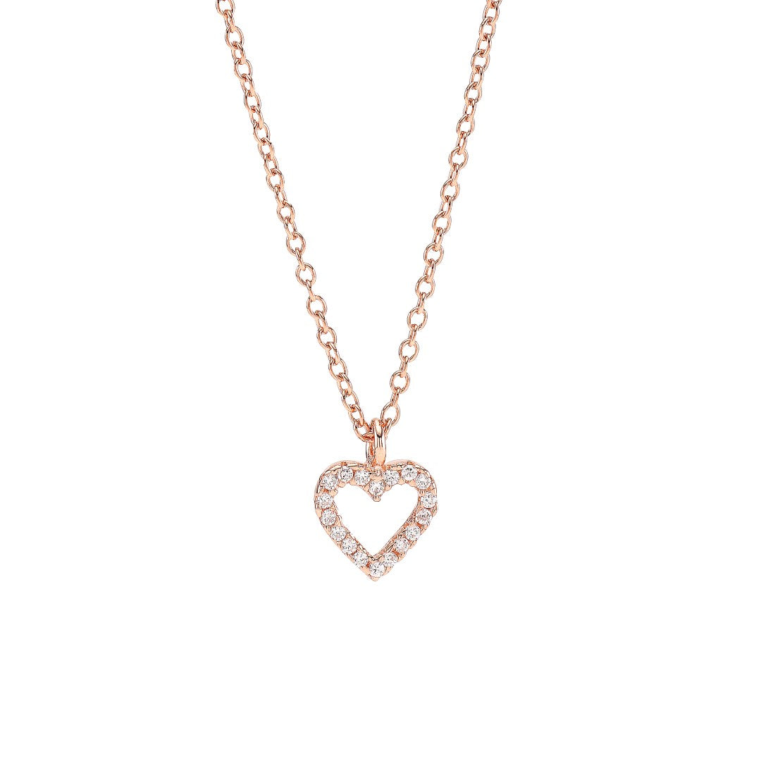 Rosegold-plated necklace AIDA heart 8mm 42+3cm
