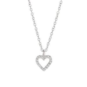 Rhod. silver necklace AIDA heart 7mm 42+3cm