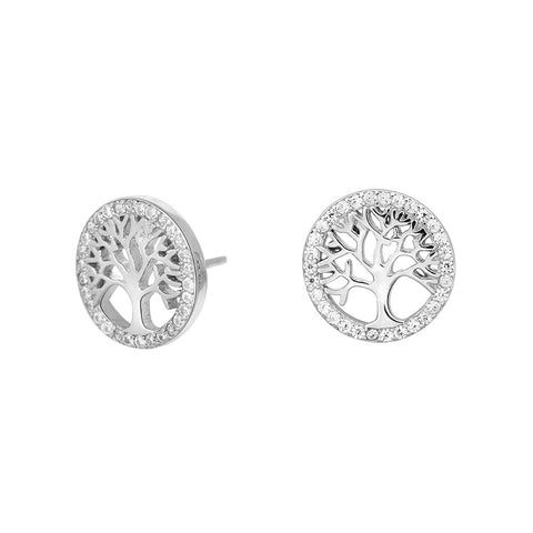 Rhodium-plated silver ear studs CAIA