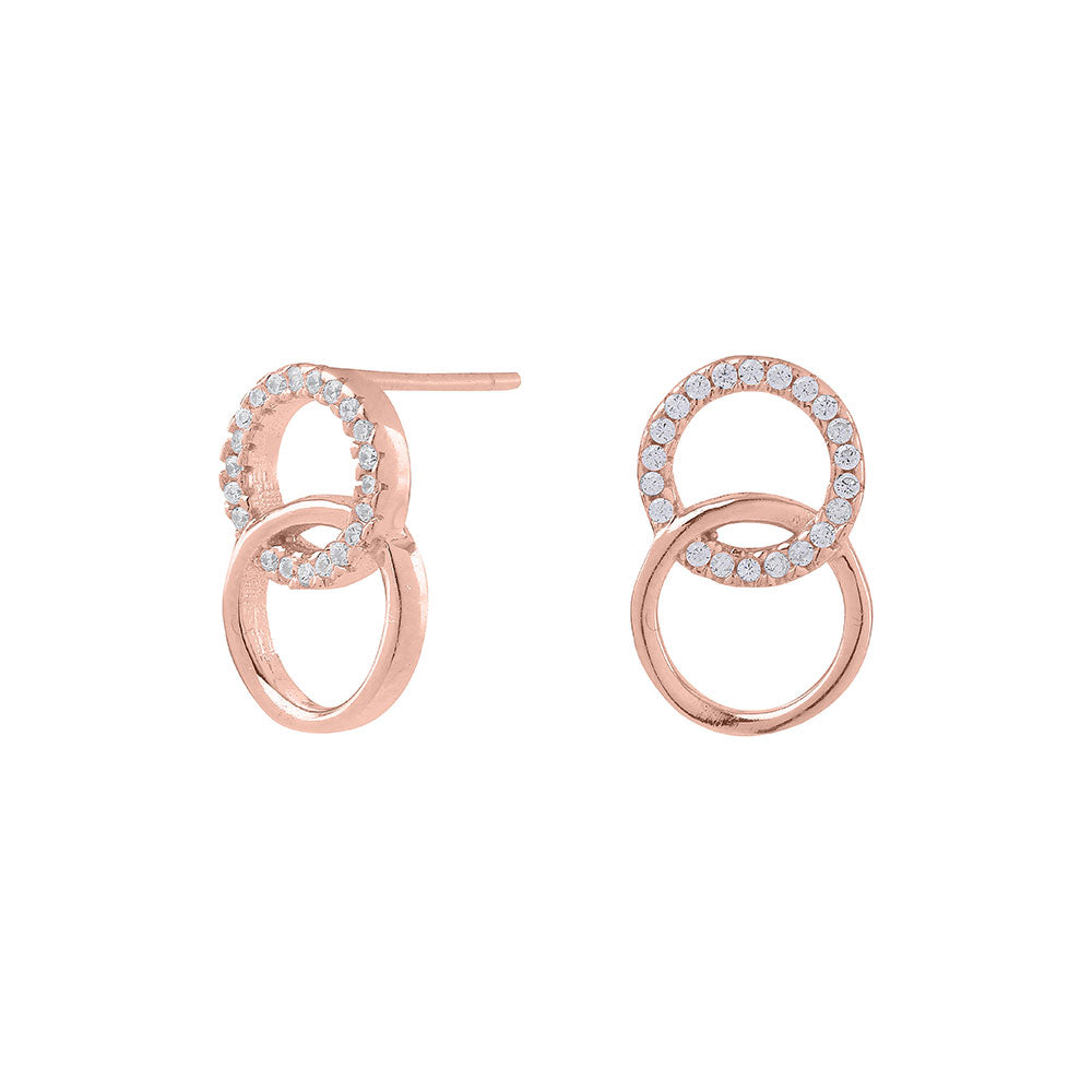Rosegold-plated silver earrings ANNA circles cz.