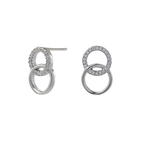 Rhod. silver earrings ANNA circles with zirconia