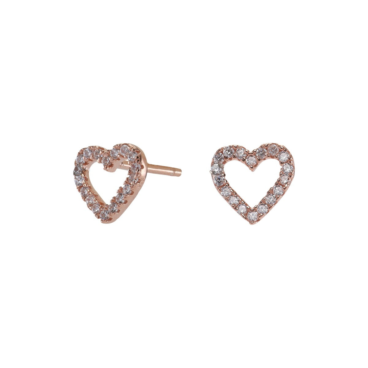 Rosegold-plated silver earrings AIDA heart cz. 6mm