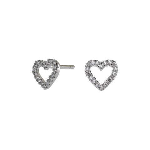 Rhod. silver earrings AIDA heart with zirconia 6mm
