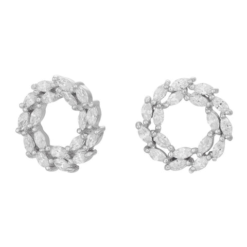 Rhodium-plated silver earrings BIBBI 13mm