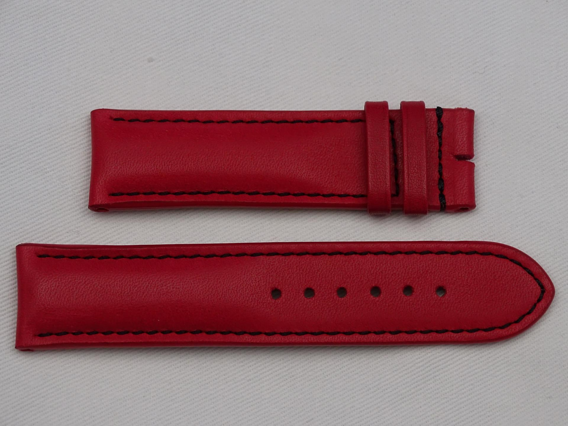 Leather Strap red with black stitching