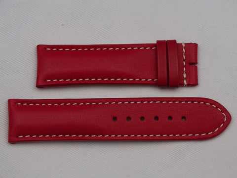 Leather Strap red with grey stitching