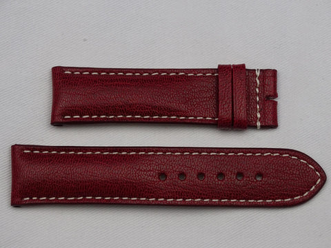 Leather Strap wine red with grey stitching