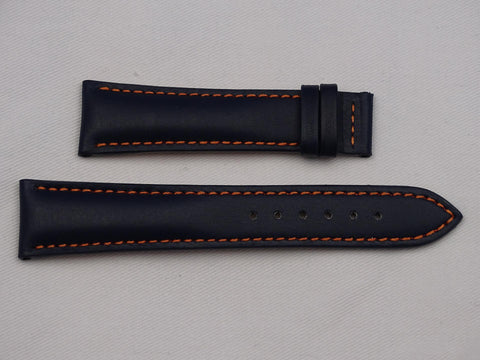 Leather Strap dark blue with orange stitching