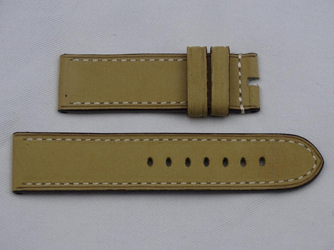 Suede leather Strap beige with grey stitching