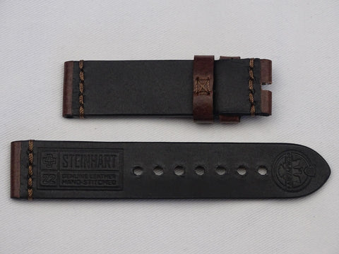 Leather Strap dark brown with brown stitching