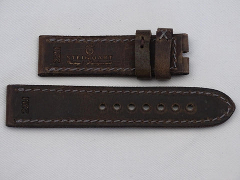 Leather Strap dark brown vintage with brown stitching