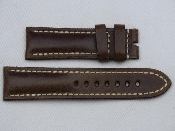 Leather Strap brown with beige stitching