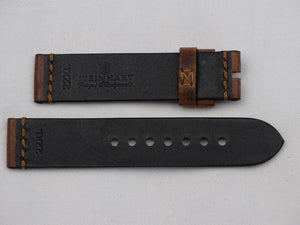 Leather Strap brown with bronce stitching