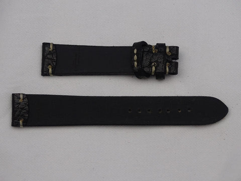 Leather Strap dark  brown with gray stitching