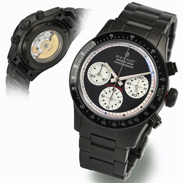 Ocean One Vintage Chronograph black mat DLC darkgray/white exclusively only here available