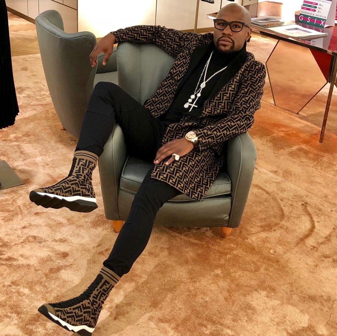 Fendi Floyd: Mayweather Sports The Iconic Italian Fashion Line Down To The Socks
