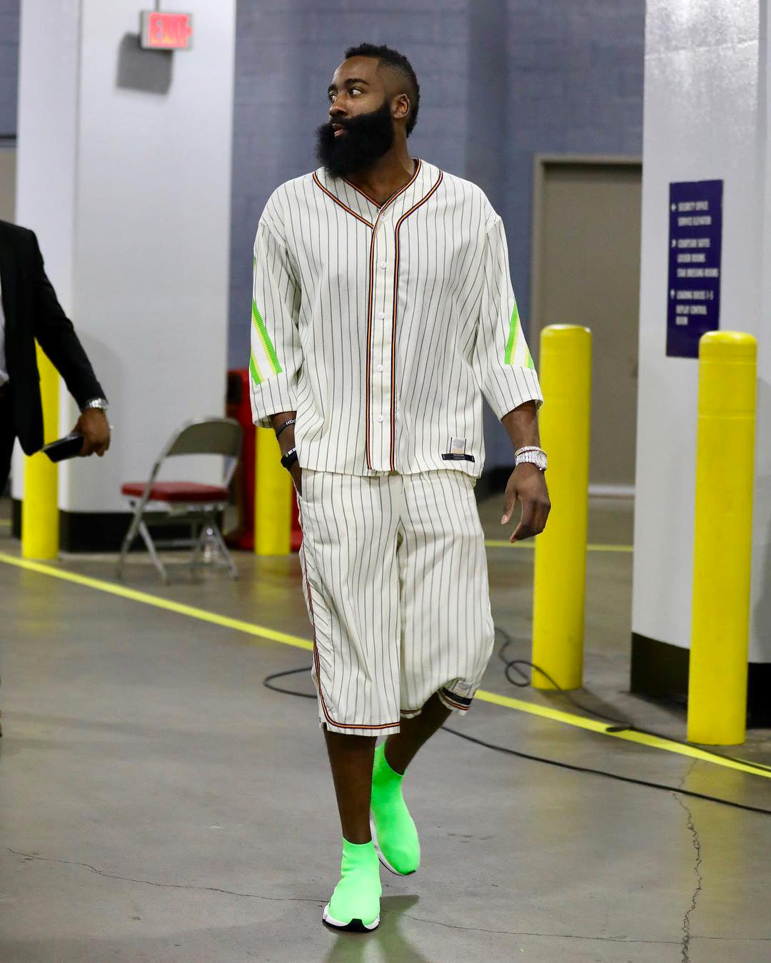 a40d2c9d907 James Harden Dons Neon Green Balenciaga s In His Pre-Game Outfit - Fizzm