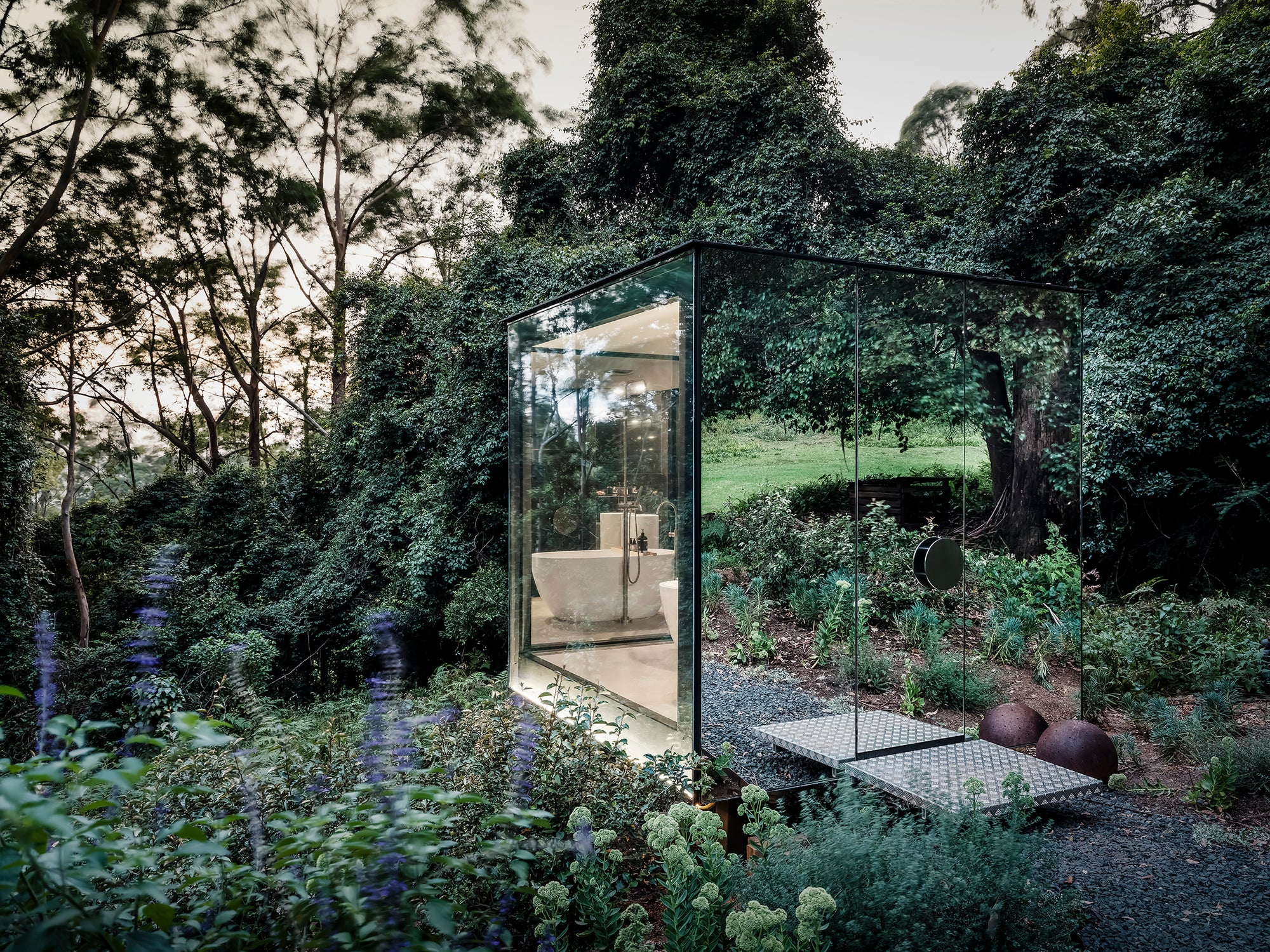 Minimal Forest: A Mirrored Bathroom in the Wild