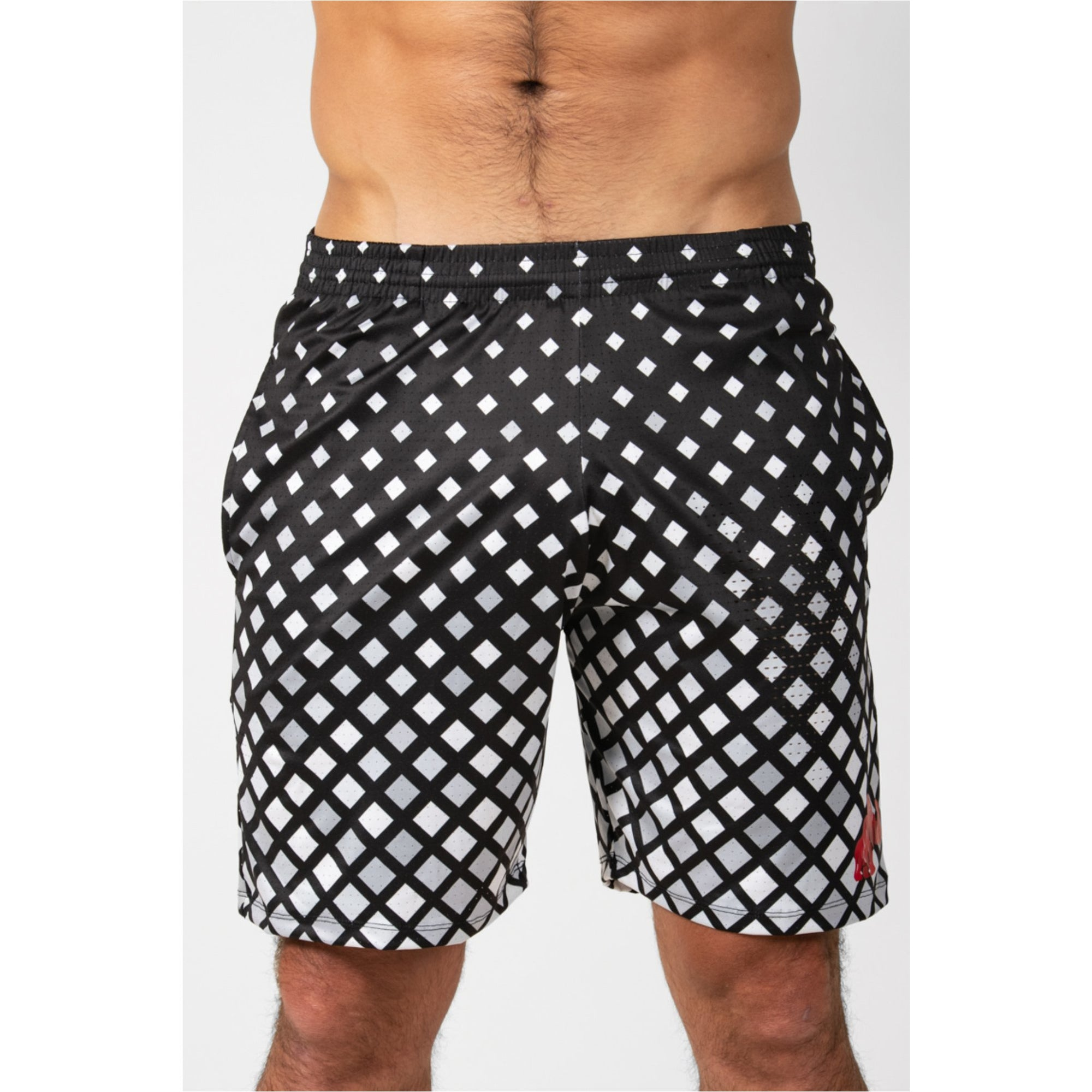 Sports Shorts Pawer Chess Black and White