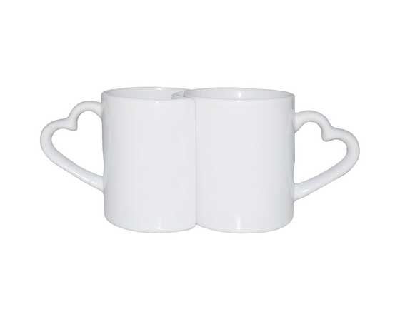 White Ceramic Sublimation Couple Mugs with heart Handle, 11 oz