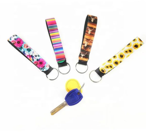 Pack of 10 - White Neoprene Sublimation Keychain Wristlets