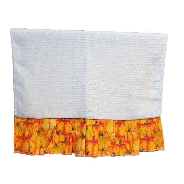 "Pack of 3 - ""Glitter Pumpkins"" White Waffle Towels with Ruffle for Sublimation"